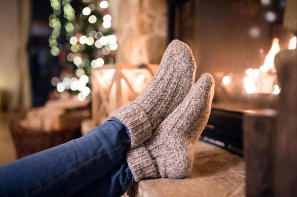cosy in front of fireplace